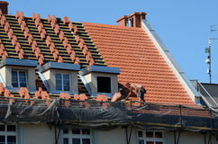 Renovation - roof repair royalty free stock photos