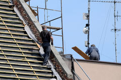 Renovation - roof repair royalty free stock images