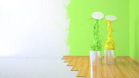 Renovation room. Renovation home. 3D illustration paint cans Stock Images