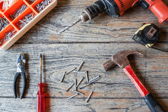 Renovation tool on wood background royalty free stock photography