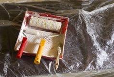 Renovation tools. Renowation tools needed to paint stock photos
