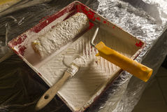 Renovation tools. Tools to paint the wall stock images