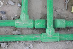 Renovation work,Bury a pvc pipe Royalty Free Stock Image