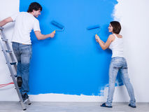 Renovation by young couple Stock Photos