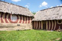 Renoverat hus av Trypillian kultur Arkivfoto