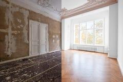 Renoveringbegrepp - rum i renoveringarbeten för lägenhet före och efter packade och målade väggar, vit dörrar och trä arkivfoton