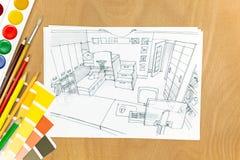 Renoveringdesignbegrepp på ett formgivareskrivbord Arkivfoton