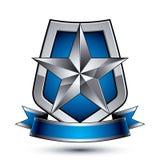 Renown эмблема звезды вектора серебряная при волнистая лента помещенная на pr Стоковое Фото