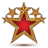 Renown vector emblem with five glamorous golden stars, 3d pentag Royalty Free Stock Photos