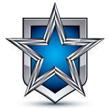 Renown vector silver emblem with pentagonal star, 3d sophisticat Stock Photography