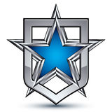 Renown vector silver emblem with pentagonal star, 3d Royalty Free Stock Images