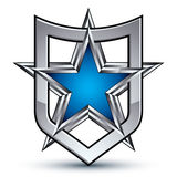 Renown vector silver emblem with pentagonal star, 3d Stock Images