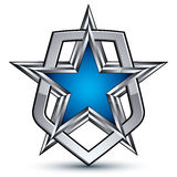 Renown vector silver emblem with pentagonal star, 3d Stock Photos
