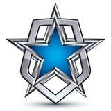 Renown vector silver emblem with pentagonal star, 3d Stock Photos