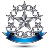 Renown vector silver star emblem with wavy ribbon, 3d sophistica. Ted pentagonal design element, clear EPS 8 Royalty Free Stock Photos