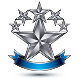Renown vector silver star emblem with wavy ribbon, 3d sophistica. Ted pentagonal design element, clear EPS 8 Stock Photography
