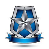 Renown vector silver star emblem with wavy ribbon placed on a pr. Otection shield, 3d sophisticated pentagonal design element, clear EPS 8 Stock Photo