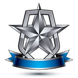 Renown vector silver star with wavy ribbon placed on a protectio. N shield, 3d sophisticated pentagonal design element, clear EPS 8 emblem Royalty Free Stock Photo