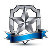 Renown vector silver star with wavy ribbon placed on a protectio. N shield, 3d sophisticated pentagonal design element, clear EPS 8 emblem Stock Photography
