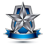 Renown vector silver star with wavy ribbon. Placed on a protection shield, 3d sophisticated pentagonal design element, clear EPS 8 emblem Stock Photography