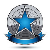 Renown vector silver star with wavy ribbon Royalty Free Stock Photography