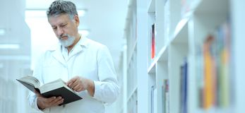 Renowned scientist/doctor in a library royalty free stock image