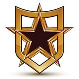 Renowned vector golden star emblem, 3d Royalty Free Stock Photography
