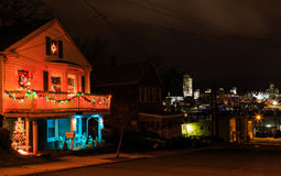 Renssaeler NY USA - town over looking Albany NY at night with Christmas lights on the street corner. Night scene with car trails. Stock Images