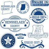 Rensselaer county, New York. Set of stamps and signs Stock Photography