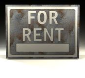 For Rent. A rusty sign with the words for rent on it Stock Photos