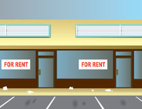 For Rent. Two vacant storefronts in a typical strip mall Royalty Free Stock Image