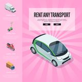 Rent any transport isometric banner. Rent any transport banner with compact car, freight truck, electric scooter, motorbike isometric elements. Automotive Stock Photography