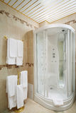 Rent badrum med duschkabinen och hängare Arkivfoto
