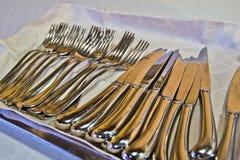 Rent bestick som är klart för restaurangutrustning Royaltyfri Foto