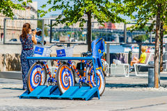 Rent a bicycle service in Museon park of Moscow Royalty Free Stock Photo