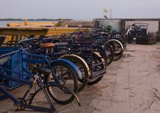 Rent of bicycles for tourism, some are awaiting restoration. stock photography