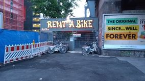 Rent a bike bike renting in Berlin at Alexa Royalty Free Stock Photo