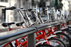 Rent A Bike. Bikes for rent are seen in a velo station Royalty Free Stock Photography
