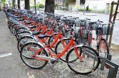 Rent a bike in Bolzano. Red bike rental in Bolzano, Italy Stock Image
