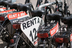 Rent a bike, row of rental bicycles Royalty Free Stock Photo