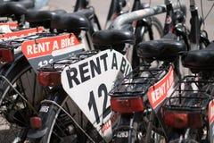 Rent a bike, row of rental bicycles. Rent a bike - row of rental bicycles Royalty Free Stock Photo