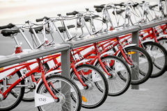 Rent A Bike. Several bikes for rent are seen in a velo station Royalty Free Stock Photography