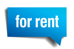 For rent blue paper speech bubble Royalty Free Stock Photo