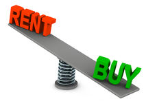Rent or buy. Buy wins over rent of a home or property, preference of own house, or time to buy and move in Royalty Free Stock Photos