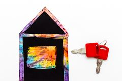 rent or buy concept. a house with keys royalty free illustration