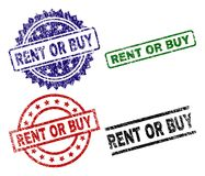 Damaged Textured RENT OR BUY Seal Stamps. RENT OR BUY seal prints with distress style. Black, green,red,blue vector rubber prints of RENT OR BUY caption with vector illustration