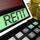 Rent Calculator Means Paying Tenancy. Rent Calculator Meaning Paying Tenancy Or Lease Costs Royalty Free Stock Photography