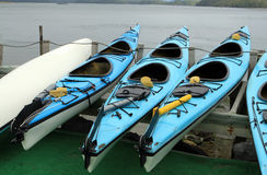 Rent a Canoe. A grouping of Canoes that can be rented in Tofino. Vancouver Island. Canada royalty free stock image