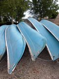 Rent a Canoe. A grouping of Canoes that can be rented at the Winnipeg Forks Market Boat Docks Royalty Free Stock Images