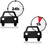 Rent a car. Icons showing two options for renting a car: for one or 24 hours Royalty Free Stock Photography